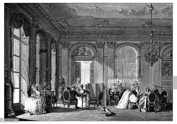 Ancienne illustration de style néoclassique française du 18e siècle-Salle de séjour
