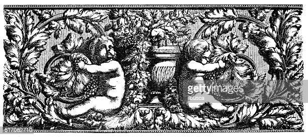 Antique illustration of frieze with two Cupids
