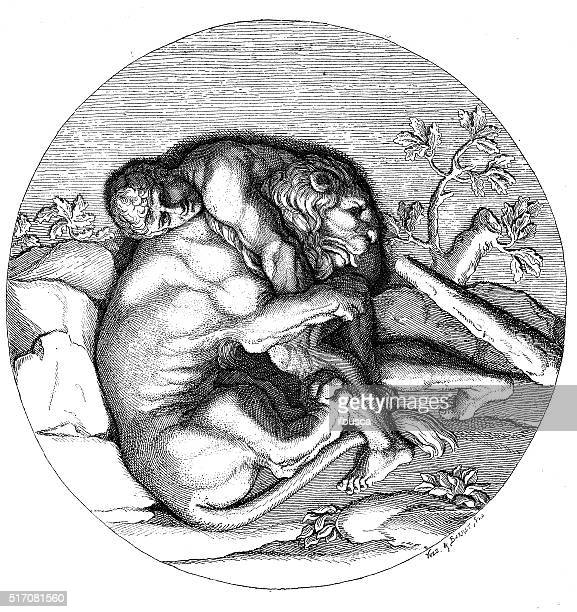 Antique illustration of Heracles fighting with the Nemean lion