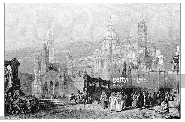 Ancienne illustration de paysage méditerranéen : Cathédrale de Palerme