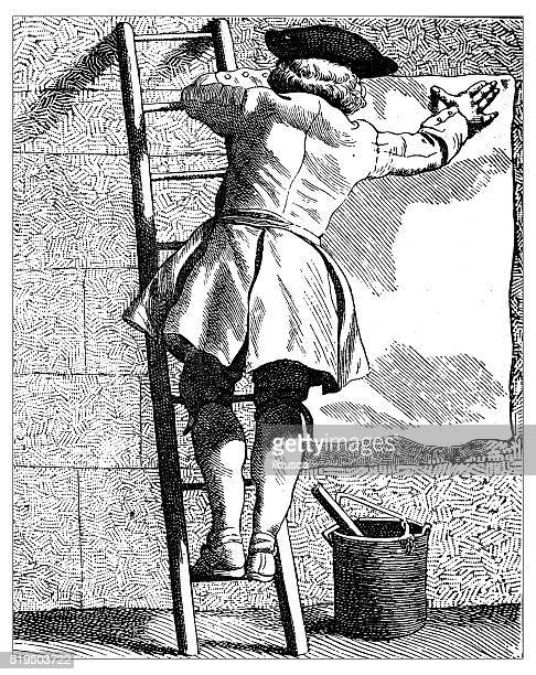 Antique illustration of people and jobs from Paris: Billposter