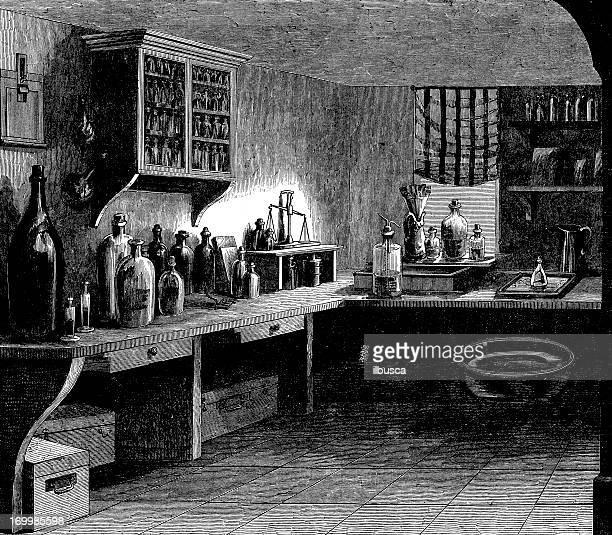 Antique illustration of photographer's darkroom