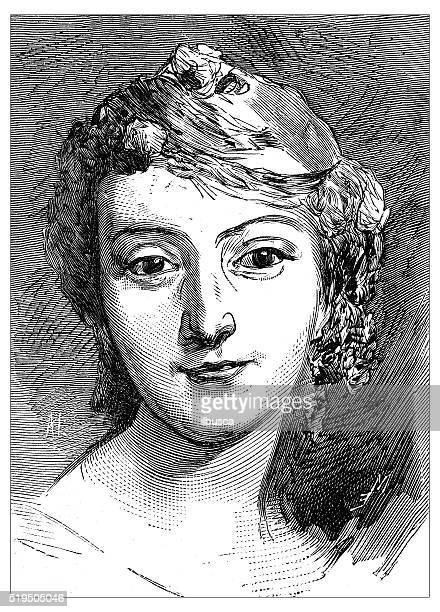 Ancienne illustration de Portrait de français du 19e siècle Chanteur d'opéra