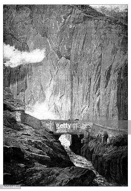 Antique illustration of Switzerland: Devil's Bridge