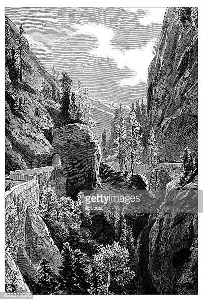 Antique illustration of Switzerland: Via Mala