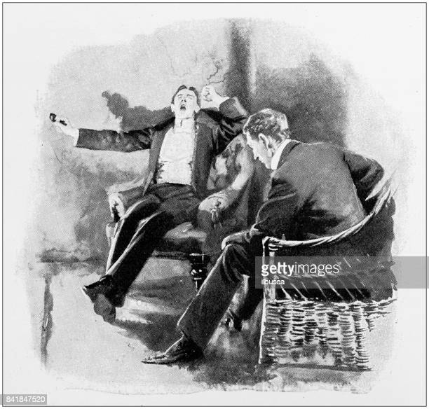 Antique illustration: Yawning