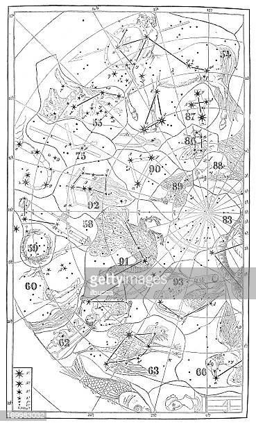 Antique illustration: zodiac astrology constellations (series of 12)