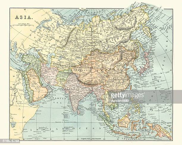 Antique map of asia in late 19th Century