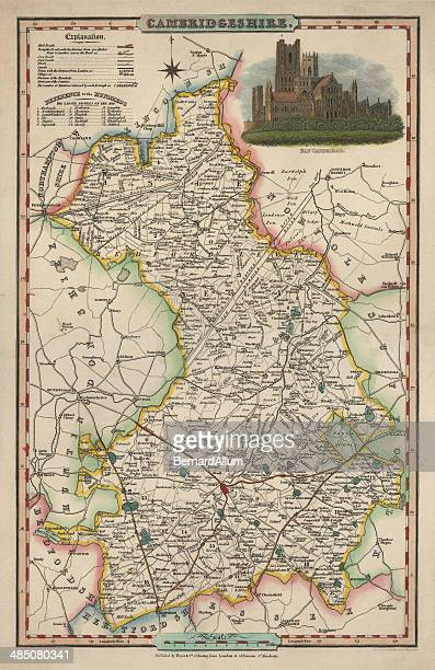Antique map of Cambridgeshire