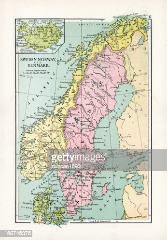 Antquie Map Of Sweden And Norway Stock Illustration Getty Images - Norway denmark map