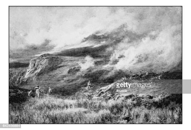 Antique photo of paintings: Landscape with hunters