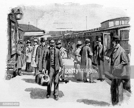 Antique photography-derived dot print illustration: train station : Stock Illustration