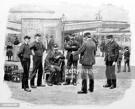 Antique photography-derived dot print illustration: train station : Stock Illustration