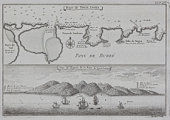 Antique print of map and illustration of coastal Sierra Leone