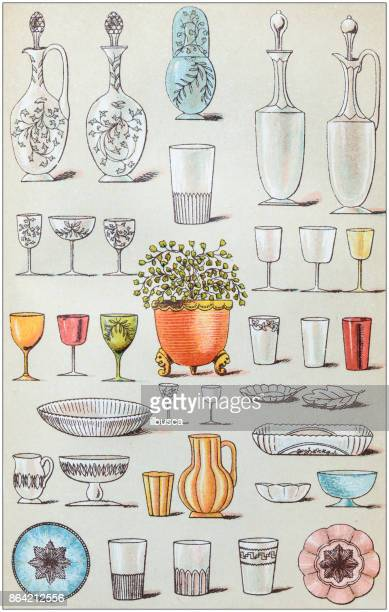 Antique recipes book engraving illustration: Glasses