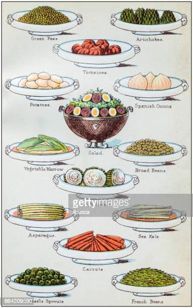 Antique recipes book engraving illustration: Vegetables