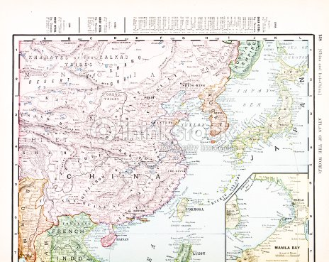 Antique vintage color map of china korea japan stock illustration antique vintage color map of china korea japan stock illustration gumiabroncs