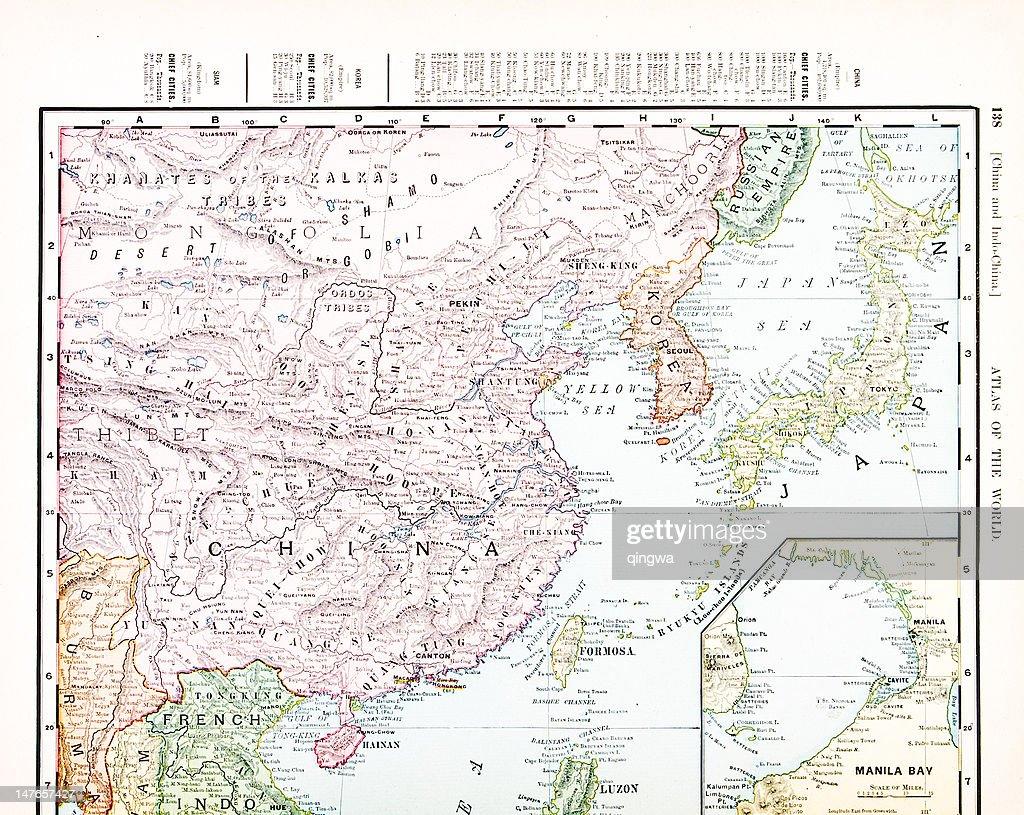Antique Vintage Color Map Of China, Korea, Japan : Stock Illustration