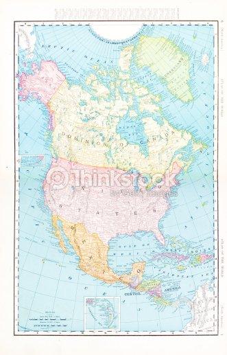 Color Map Of North America.Antique Vintage Color Map Of North America Canada Mexico Usa Stock