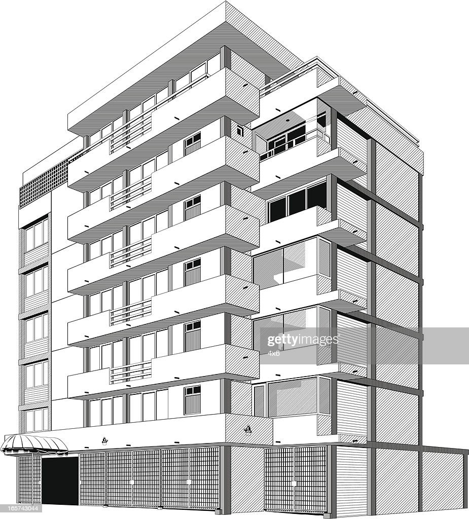 black and white apartment building clip art. Keywords  Apartment Architecture Balcony Below Black And White Color Building Exterior With Apartments Upstairs Shops Downstairs Vector Art