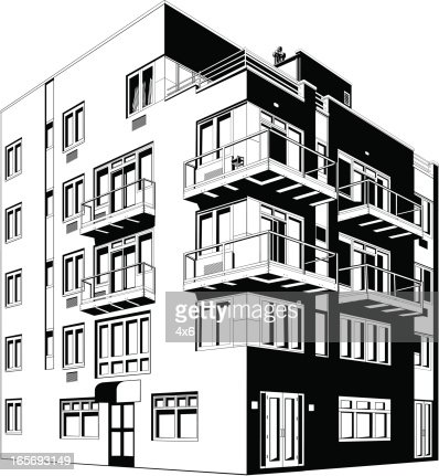 Apartment Building In A City Vector Art Getty Images