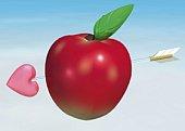 Apple and Arrow, CG, 3D, Illustration, Close Up