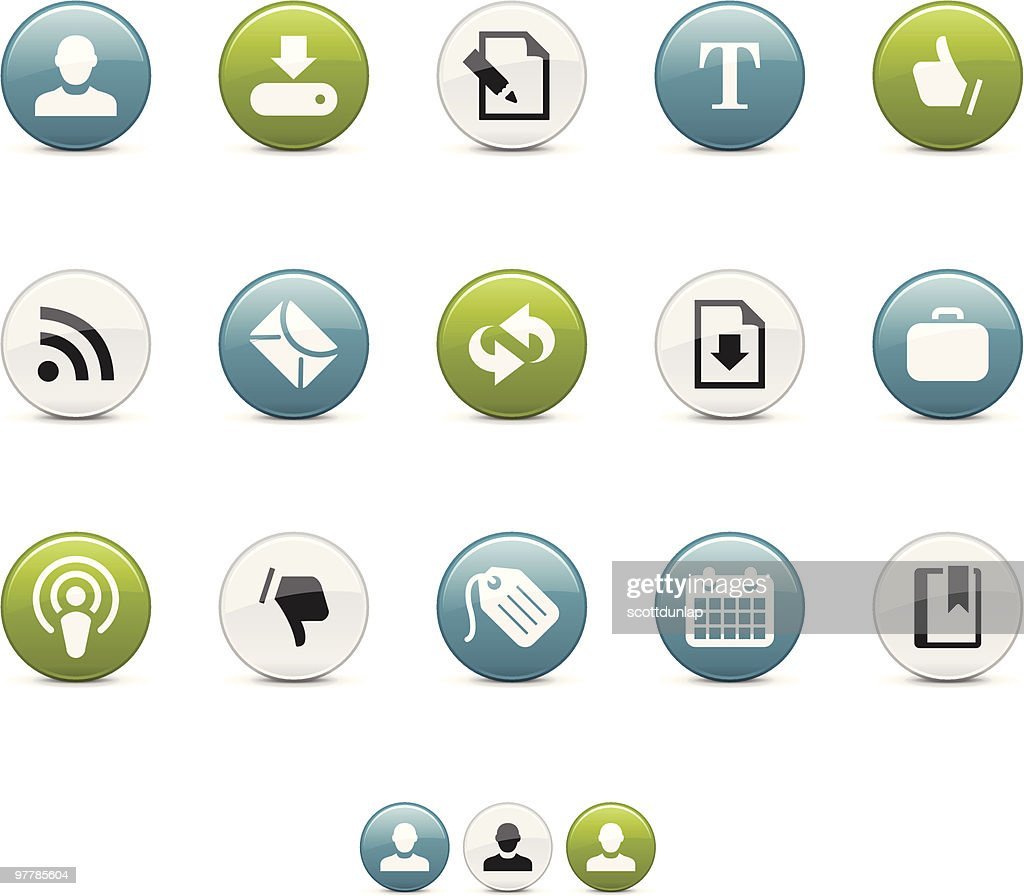 Aqua Icons | Blogging and Internet : Vector Art