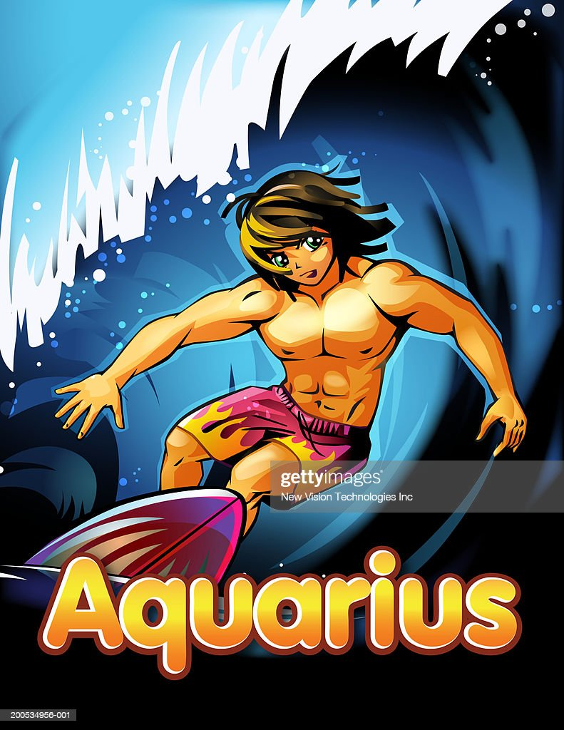'Aquarius' beneath anime man surfing : Stock Illustration