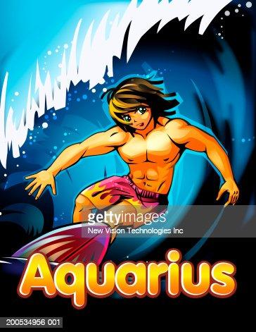 'Aquarius' beneath anime man surfing : Stock Illustration