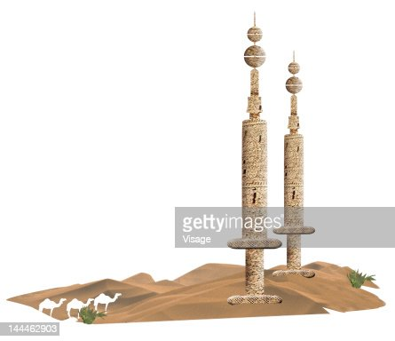 Arab structures in desert : Stock Illustration