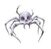 arachnid spooky skull watercolor illustration