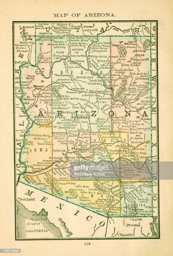 Arizona Usa Antique Maps High Resolution Stock Illustration - Usa map high resolution