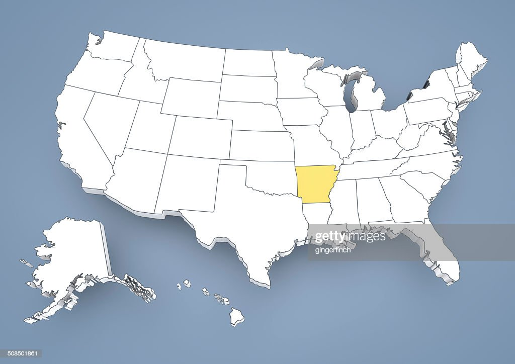 Arkansas Ar Highlighted On A Contour Map Of Usa United States Of - Us map arkansas