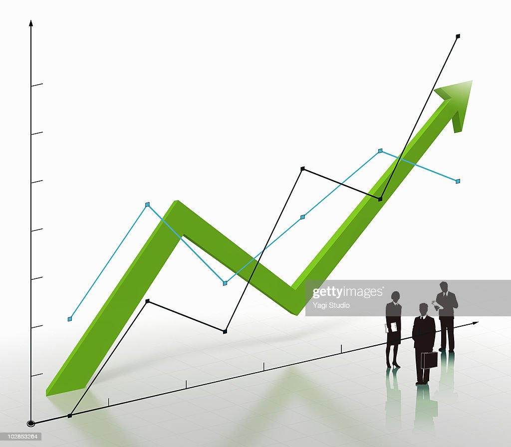 Arrow, line graph and the silhouette of the busine : Stock Illustration