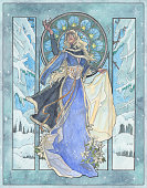 This winter goddess was hand drawn in inks and colored with watercolors.