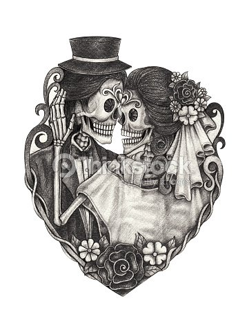 Art Skull Wedding Day Of The Dead Stock Ilration