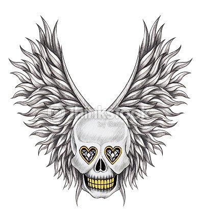 Kunst Schädel Wings Angel Tattoo Stock-Illustration | Thinkstock