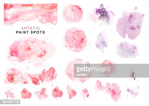 Artistic collection of hand drawn watercolor pink and violet spots, paint drops and backdrops isolated on white background. Good for Valentine day cards, wedding invitation and decorations, banners, etc : stock illustration