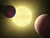 This artists concept illustrates the two Saturn09/14/2009sized planets discovered by the Kepler mission. The star system is oriented edge09/14/2009on, as seen by Kepler, such that both planets cross i