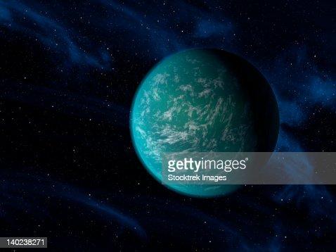 Artist's concept of Kepler 22b, an extrasolar planet found to orbit the habitable zone. : Stock Illustration