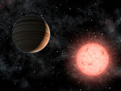 This artist's concept shows the smallest star known to host a planet. The planet, called VB 10b, was discovered using astrometry, a method in which the wobble induced by a planet on its star is measur