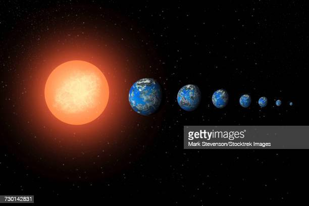 Artists concept of the Trappist-1 star system.