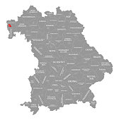 Aschaffenburg city red highlighted in map of Bavaria Germany