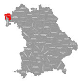 Aschaffenburg county red highlighted in map of Bavaria Germany