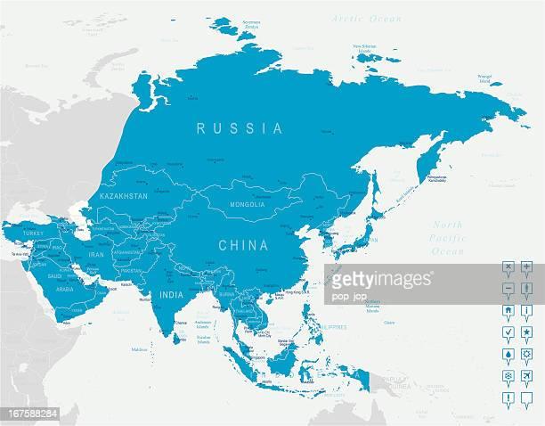 Asien Karte und navigation Symbole
