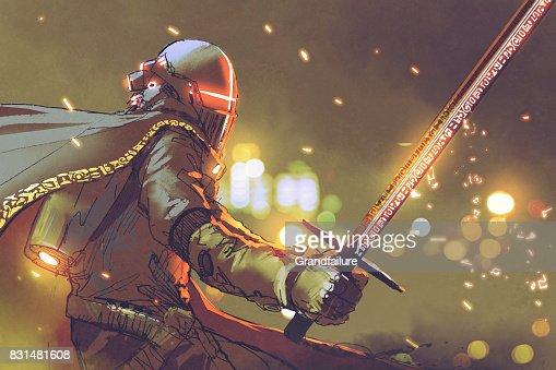 Armure Futuriste astrochevalier en armure futuriste tenant une épée magique