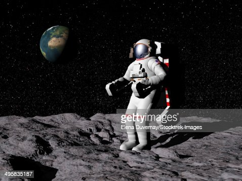 astronaut on moon earth background - photo #8