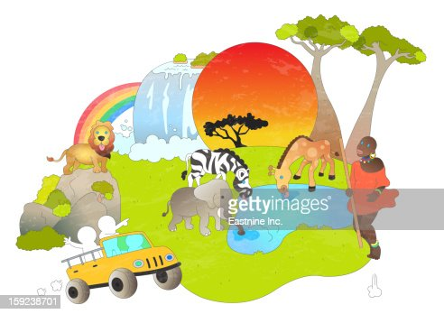 Attractions of Africa : Stock Illustration
