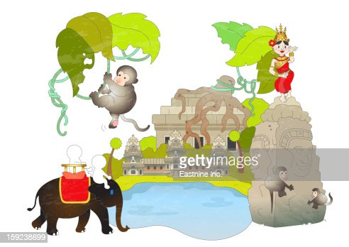 Attractions of Cambodia : Stock Illustration