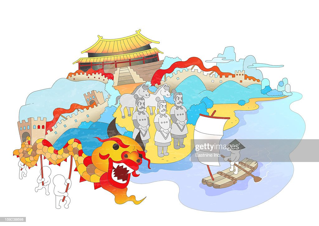 Attractions of China : Stock Illustration